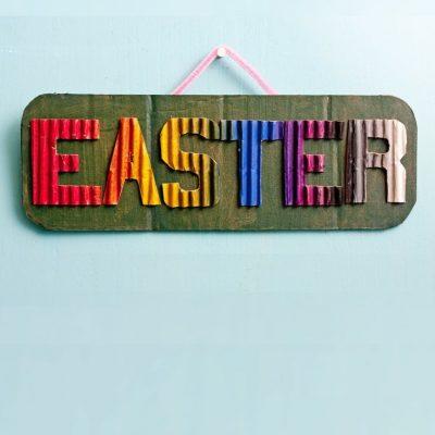 DIY Easter Sign Door Decor
