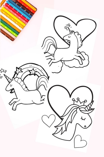 Free printable unicorn coloring book pages. Quick and easy download. Great for unicorn themed birthday parties.