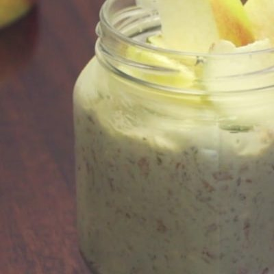 Overnight matcha and apple oatmeal
