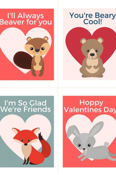 Printable animal valentines cards for kids