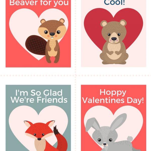 Printable animal valentines cards for kids