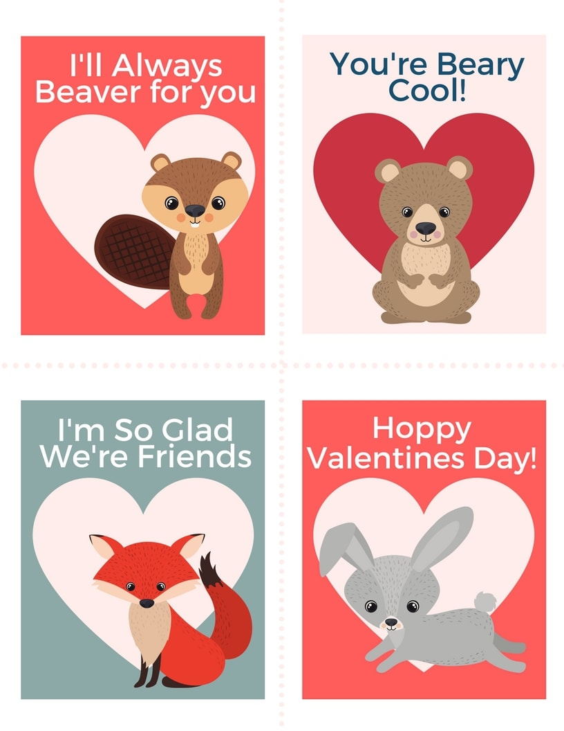 image regarding Printable Valentines Pictures identify Valentines Working day Forest Animal Printable Playing cards - Exciting Thrifty Mother