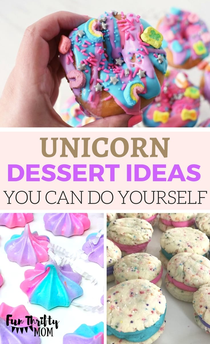 Unicorn dessert and treat ideas you can DIY. Cute treats to add to your kids birthday party table. A unicorn themed birthday party is colorful and fun! Pinks, purple and teals make this a birght bash,