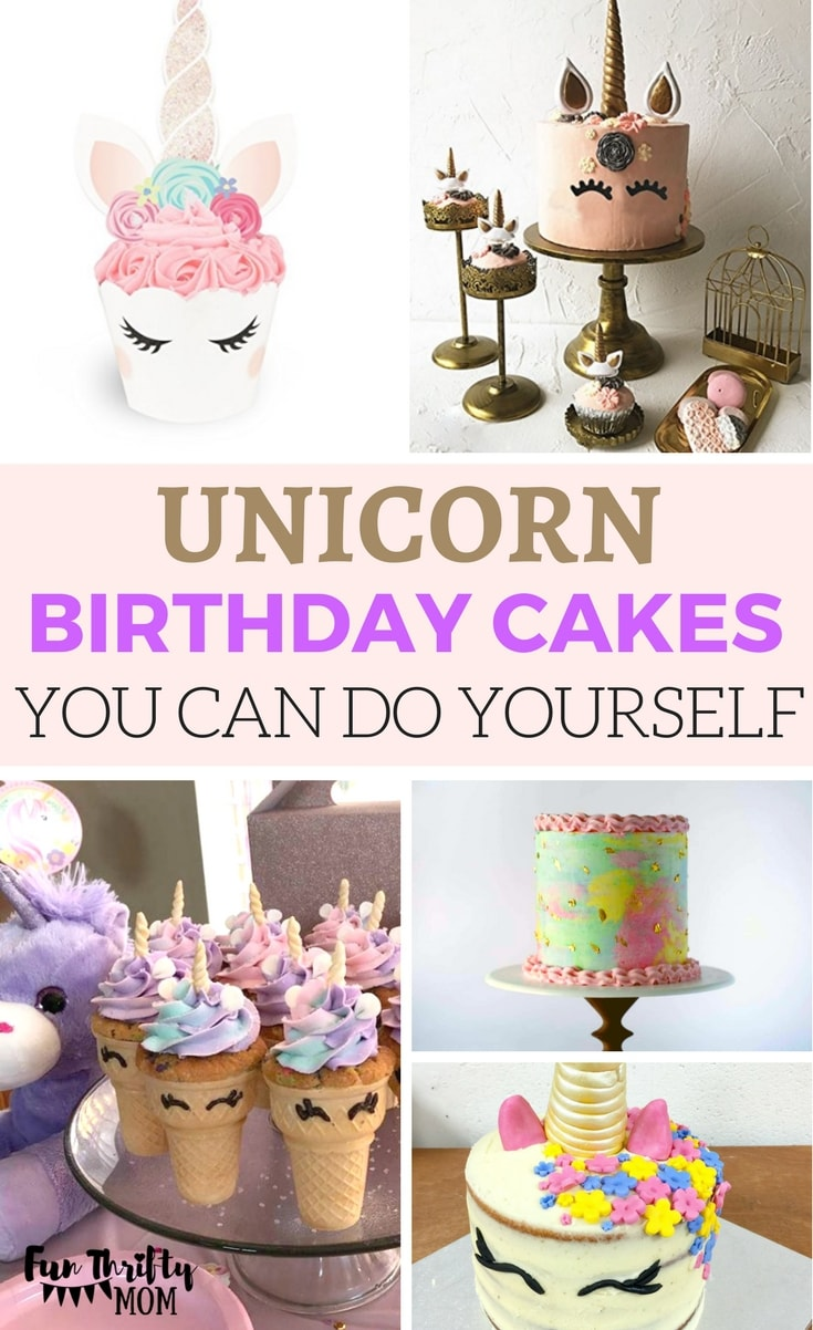 Unicorn themed birthday party cakes you can DIY. Fun and cute ideas! Make your kids party awesome! Great ideas for pink, purple gold and teal birthday cakes.