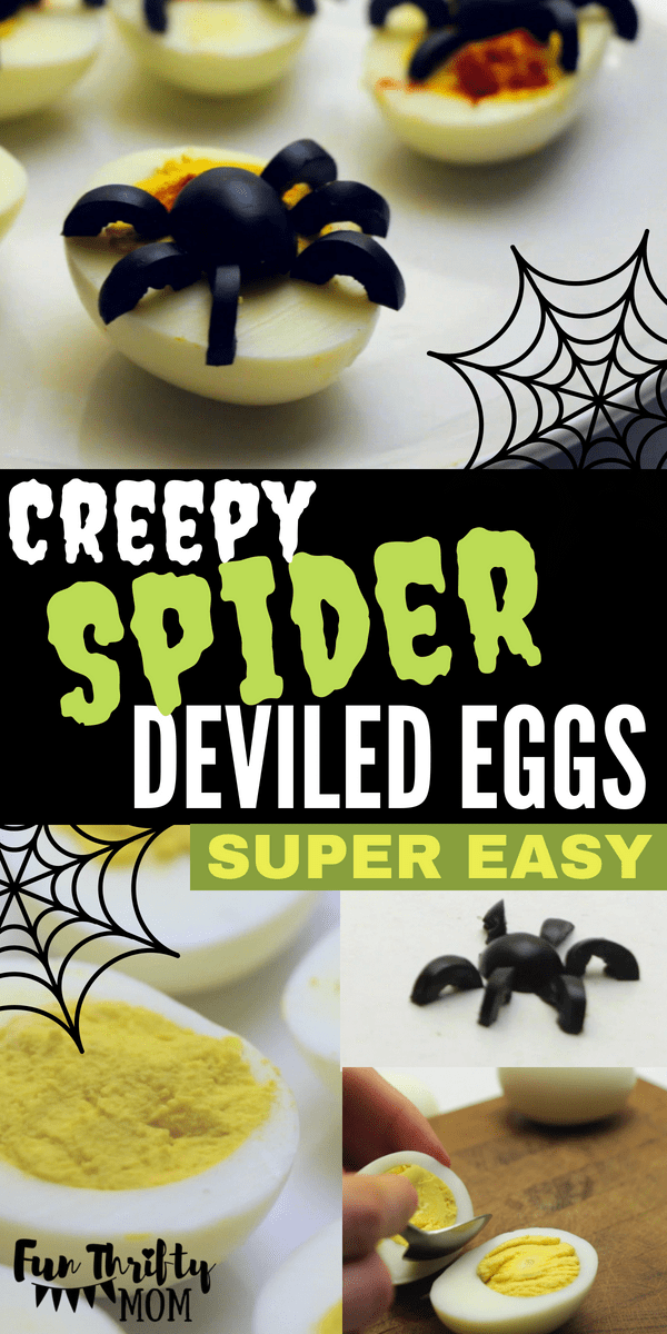 Super easy halloween deviled eggs. These cute little spider eggs make the perfect appetizer for any halloween party and are the perfect halloween food that everyone will enjoy!