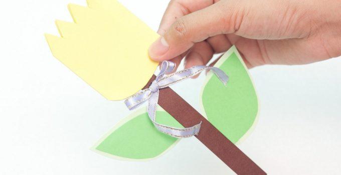 Paper flower card craft for kids