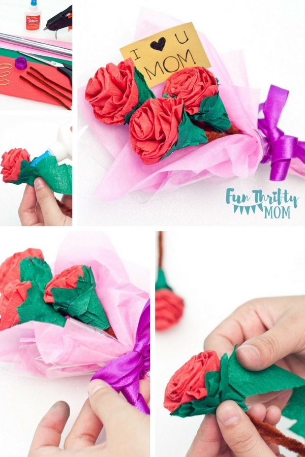 Try this step by step paper flower tutorial. What a cute DIY craft for mothers day for the mom who loves flowers!