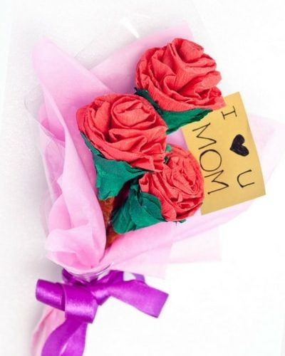 Paper flower tutorial. Step by step flower bouquet how-to. Perfect craft for mothers day.
