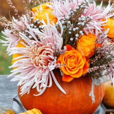 Gorgeous Floral Pumpkin Centerpiece