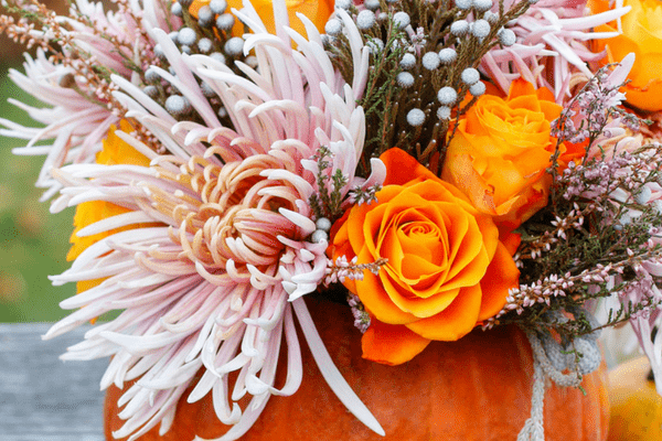 Thanksgiving pumpkin and flower decor. Gorgeous display for fall.