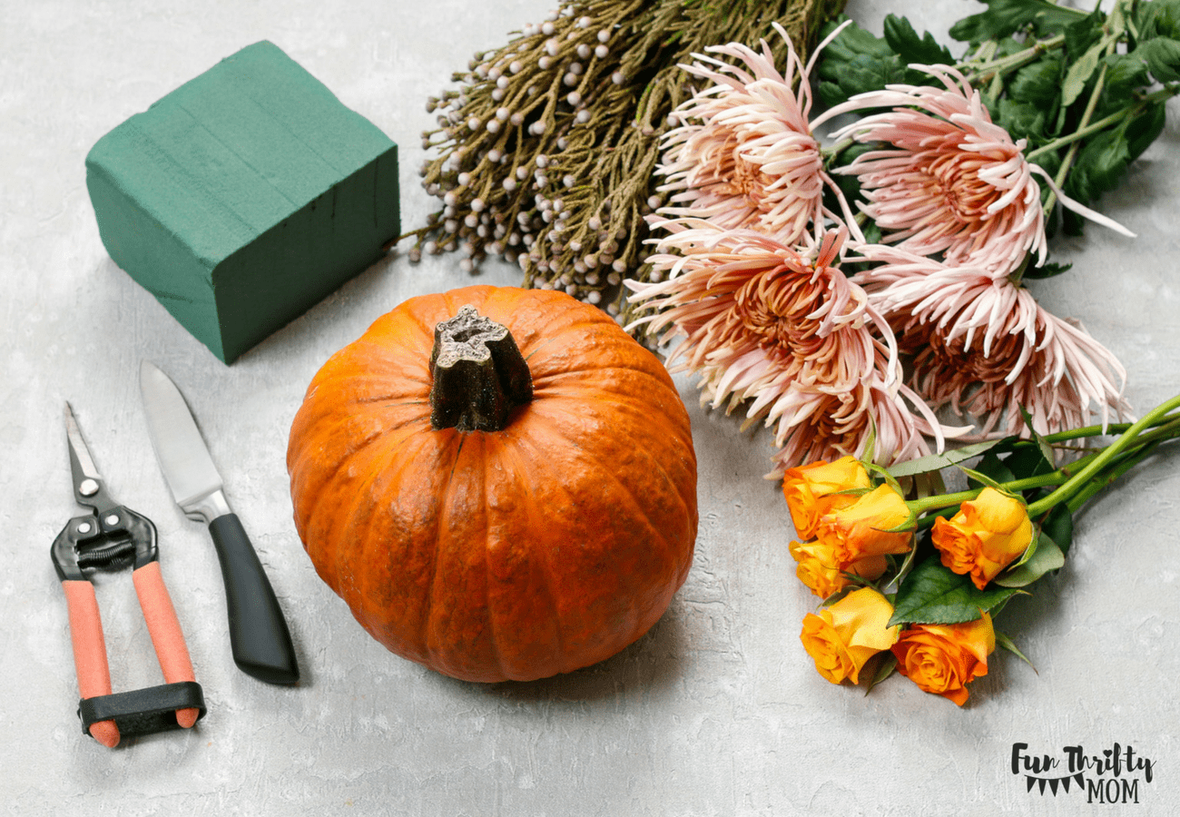 Supplies needed for the pumpkin and flower centerpiece.