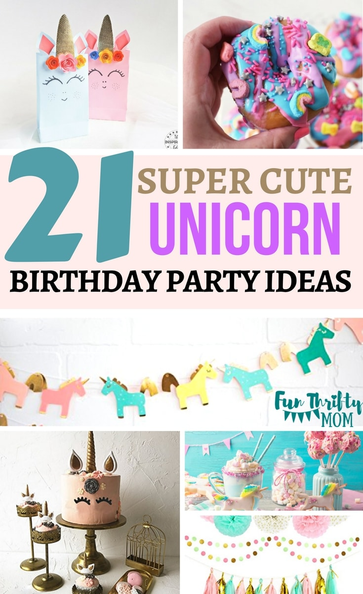 Fun ideas for a unicorn themed birthday party. Cakes, goodie bags, decorations and cute free printables!