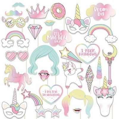 Unicorn birthday party theme, photo booth kit in pretty Pastels.