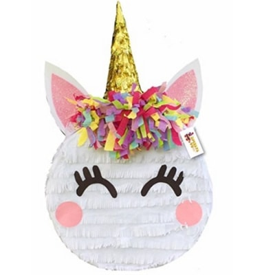 Cute unicorn themed pinata for kids birthday party.