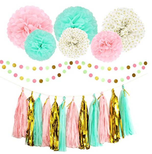 This cute party decoration set would be perfect for a unicorn themed birthday party.