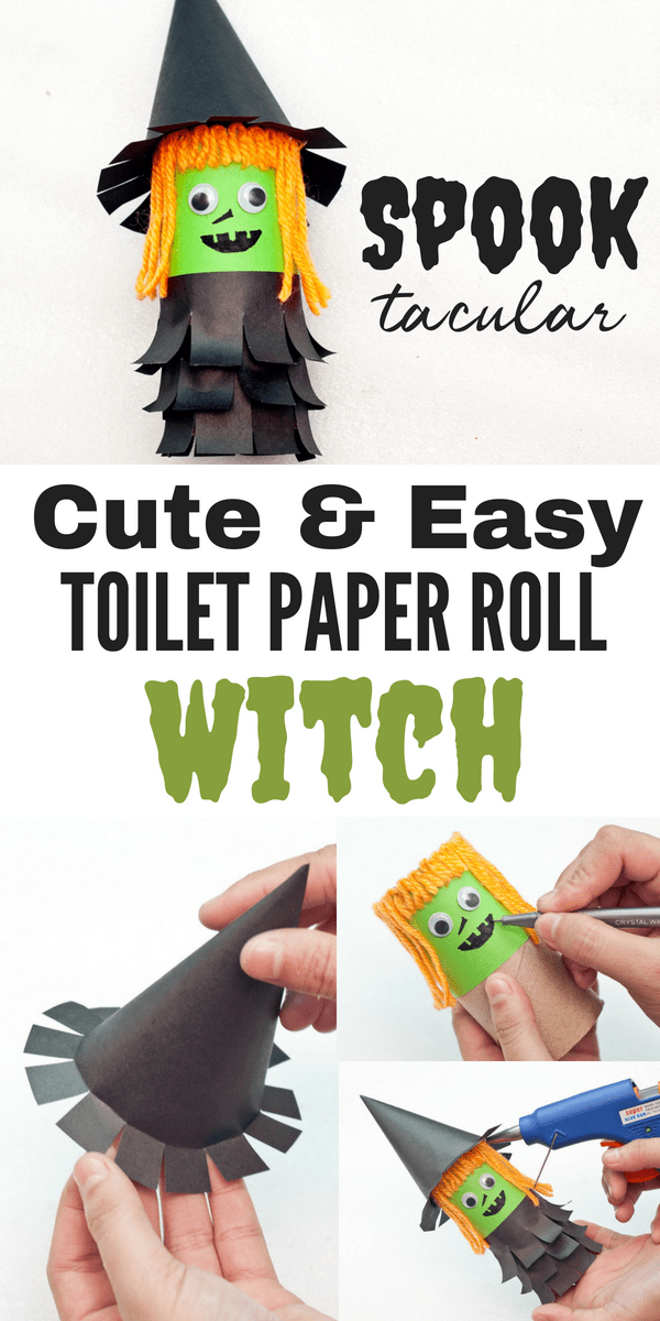 Such a cute halloween craft for kids! Make this little witch out of a toilet paper roll and construction paper. So easy and so cute!